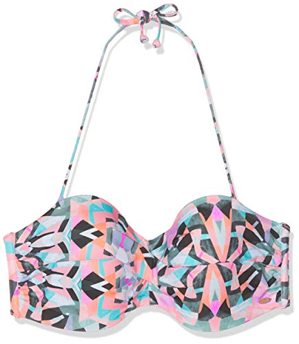 O 'Neill PW Sol Mix Bikini Top, Mujer, Top de Bikini, 9A8506, Color Blanco y Verde, 34B