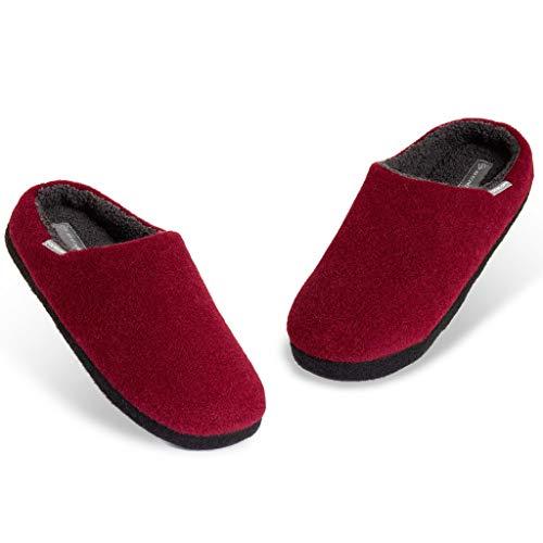 Dunlop Zapatillas Casa Hombre, Pantuflas Hombre De Forro Polar Suave, Zapatillas Hombre con Suela Antideslizante Interior Exterior, Regalos para Hombres y Chicos Adolescentes (Granate, Numeric_42)
