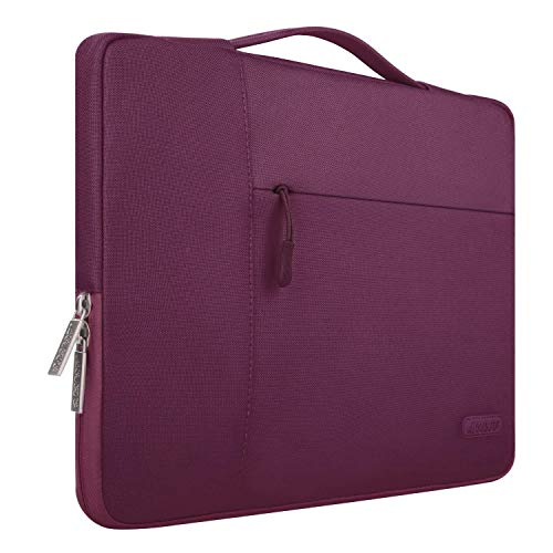 MOSISO Laptop Sleeve Compatible with 13-13.3 inch MacBook Air, MacBook Pro, Notebook Computer, Polyester Multifunctional Briefcase Handbag Carrying Case Cover Bag, Wine Red