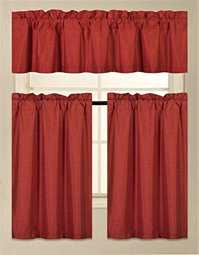 Fancy Collection 3 Pieces Faux Silk Blackout Kitchen Curtain Set Tier Curtains and Valance Set Red Color Window Set Thermal Backing Drapes Assorted Colors New