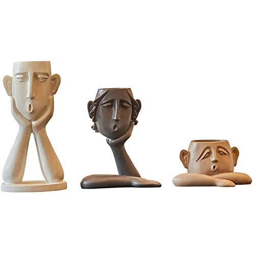 Zhenwo 3 Pieces/Set Abstract Human Face Vase Resin Flower Pot Character Sculpture Desktop Flower Container Decoration Garden Micro Landscape Pot,Set