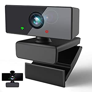 Webcam PC con Micrófono,Rotación de 360° Webcam 1080P/30fps,USB Cámara Web con Gran Angular 110° y Cubierta Privacidad Portátil para Videoconferencia Estudiar Chat de Video,Windows/MacOS/Chrome