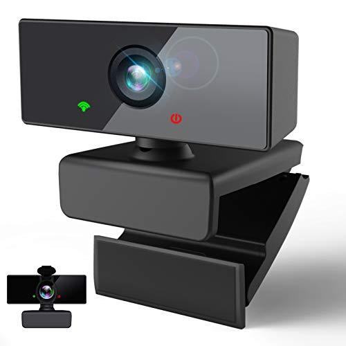 HAMTOD Webcam PC 1080P/30fps Full HD con Microfono,360°Rotazione 110°Grandangolo Portabile Webcam USB per Videochiamate,Conferenza,Imparare,Registrazione,Giochi,Compatibile con Windows/MacOS/Android