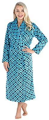PajamaMania Women's Plush Fleece Long Bathrobe Teal Diamonds (PM1400-2091-LRG) from