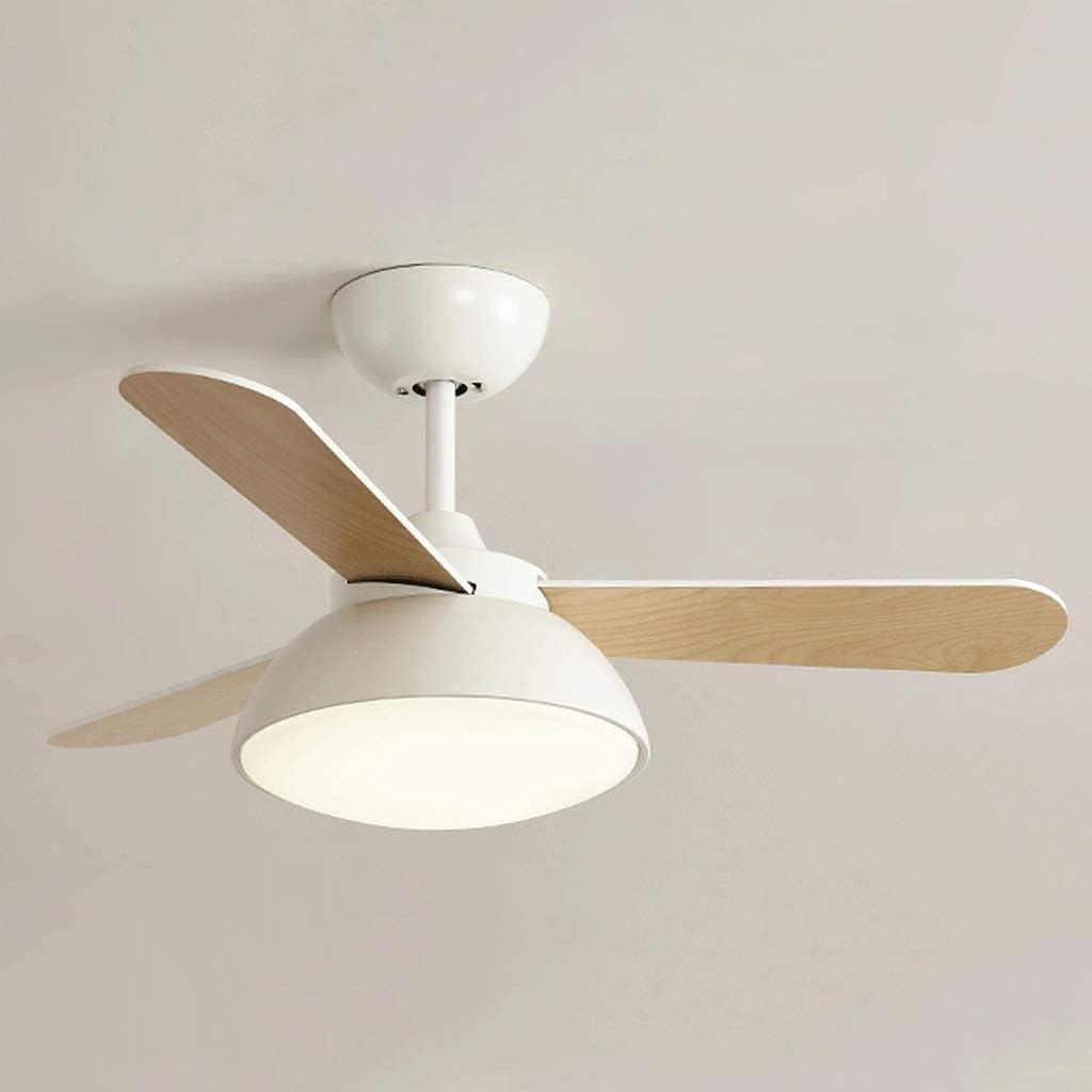 Ventilador de techo retro con luz para interior, ventilador de techo con luz LED y control remoto, 36 pulgadas, luz de ventilador de techo con aspas pulidas de roble claro / satinado (color: blanco)