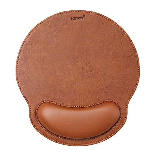 Meffort Inc Leather Mouse Pad with Wrist Rest Support & Non-Slip Base, Durable Ergonomic Gaming Mousepad - Brown