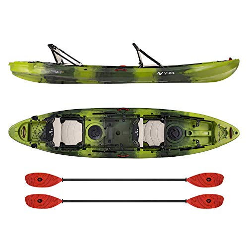 Vibe Kayaks Yellowfin 130T 13 Foot Tandem Angler and Recreational Two Person Sit On Top Fishing Kayak (Moss Camo) with 2 Paddles and 2 Hero Comfort Seats - Tsunami Red Evolve Paddles