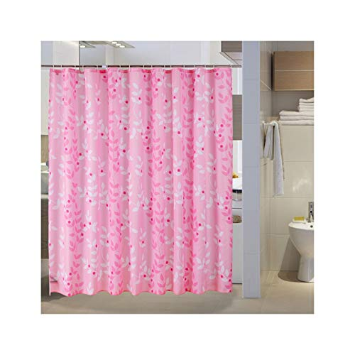 SonMo Duschvorhang Blatt Muster Polyester Rosa Anti-Schimmel Wasserdicht Anti-Bakteriellbad Vorhang für Badezimmer Badewanne mit Duschvorhangringen Verdicken 240×200CM