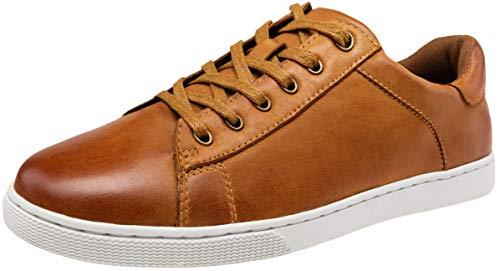 JOUSEN Men's Leather Sneakers Fashion Dress Sneaker Business Casual Shoes for Men (MY852 Tan 9.5)