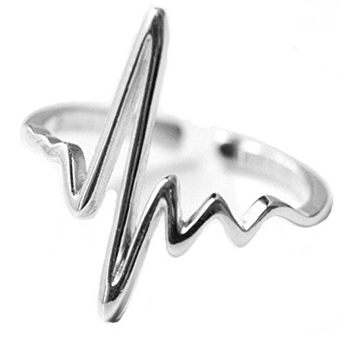 Helen de Lete, anello aperto a forma di battito cardiaco, in argento Sterling