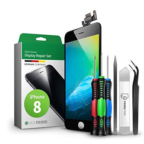 GIGA Fixxoo Display-Set für iPhone 8 | SCHWARZ | vormontiertes Reparatur-Set komplett mit Frontkamera & Werkzeug-Kit, Ersatz Bildschirm | Retina LCD Glas mit Touchscreen