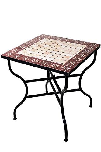 ORIGINAL Marokkanischer Mosaiktisch Gartentisch 70x70cm Groß eckig klappbar | Eckiger klappbarer Mosaik Esstisch Mediterran | als Klapptisch für Balkon oder Garten | Sonne Natur Bordeaux 70x70cm
