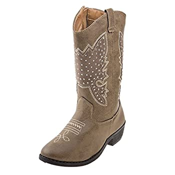Kensie Girl Kids Western Cowboy Boot Size 2 Little Kid Taupe Studs