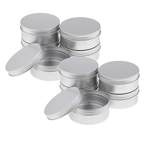 SM SunniMix 10 x 250 ml Conteneurs Cosmétiques Vide Pots de Voyage Rondes Boîtes en Aluminium