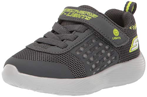 Skechers baby boys Dyna-lights Sneaker, Charcoal/Yellow, 9 Toddler US