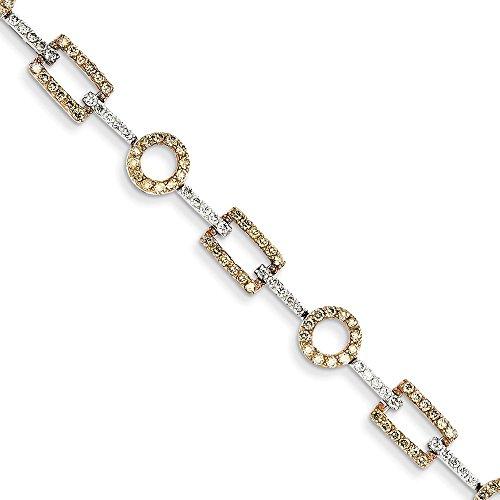 Jewels By Lux Pulsera de oro blanco de 14 quilates con diamantes blancos y champán.