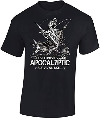 Camiseta: Apocalyptic Fishing - Pescado - Pescador - T-Shirt Hombre-s y Mujer-es - Pesca - Regalo para Pescador - Survival Outdoor Camping - Caña - Calavera - Apocalipsis
