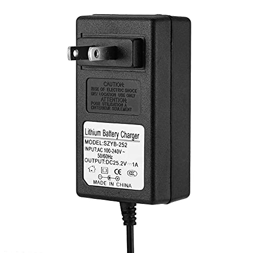 CIGLOW 배터리 전원 어댑터 25.2V 1A 유니버설 AC TO DC 배터리 충전기 전원 어댑터 LED 표시기 전원 공급 충전기 플러그 장착.` `(US)