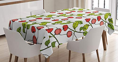 ABAKUHAUS Cerise Nappe, Feuillu Branche Fruit Cartoon, Linge de Table Rectangulaire pour Salle à Manger Décor de Cuisine, 140 cm x 240 cm, Corail Vert Pomme Blanc