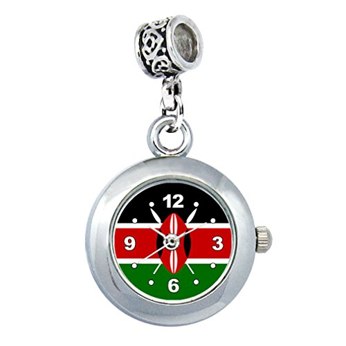Timest - Kenia Länder Flaggen Uhr für Armbänder und Ketten Rund Analog Quarz EBA0299