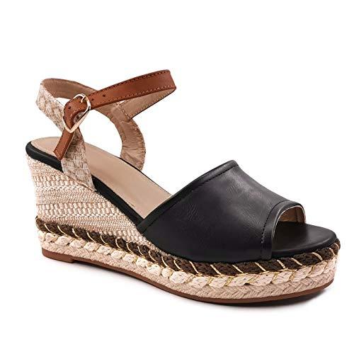 Angkorly - Damskor sandaler – Böhmen – Kasual – stora platåskor – flätade – med halm – slätt läder kilklack hög klack 7,5 cm, - svart - 37 EU