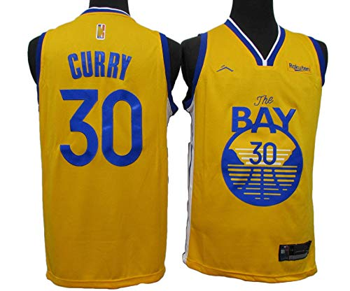 MJAD Warriors Jersey # 30 Curry Training Basketball Jersey,Camiseta Unisex para Hombre Y Mujer,Chaleco Deportivo,Amarillo L