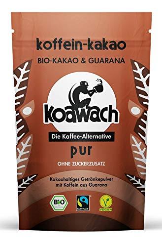Koawach Pur Kakaopulver Trinkschokolade – Koffein Kakao Zuckerfrei Guarana Vegan heiße Schokolade Getränk ohne Zucker Energy Drink Backkakao Bio Fairtrade (500g)