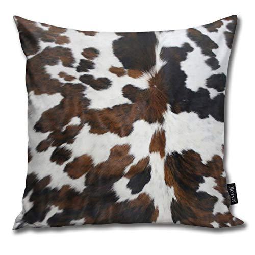 TopBABYYING Home Decoration Throw Pillows Cases Cowhide Tan, Black and White Texture 18x18 Square Accent Bedroom Cushion Pillowcases Cover Sofa,Chairs,Car,Hotel,Cafe Decor Both Sides