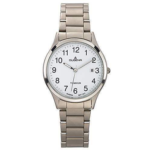 DUGENA Herren-Armbanduhr 4460328 Semper, Quarz, weißes Zifferblatt, Titangehäuse, Mineralglas, Titanarmband, Drückerfaltschließe, 5 bar