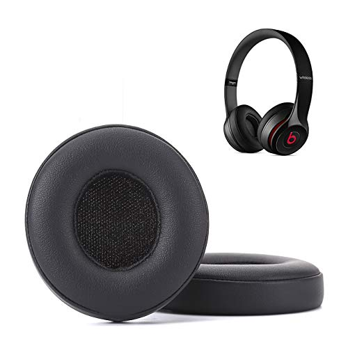 Krone Kalpasmos Earpad Replacement for Beats Solo 2 & 3 Wireless/Wired Headphone, Ear Cushion Premium Protein Leather Memory Foam with Kits, Superb Comfortable Easy to Install – Black
