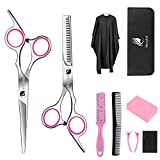 10 Pcs Hair Cutting Scissors/Shears Kit,Professional Haircut Scissor Set 6CR 660C Stainless Steel with Hair Razor Comb, Cape, Hairpin