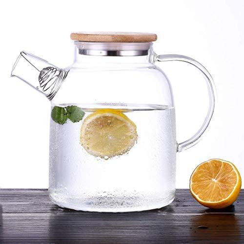 Fleswaterkruik met deksel - 1600 Ml grote glazen theepot met filtertuit - Borosilicate glazen Pitcher kruik voor zelfgemaakt sap, ijsthee, warm/koud water & los blad theepot, penseel en onderzetter inbegrepen