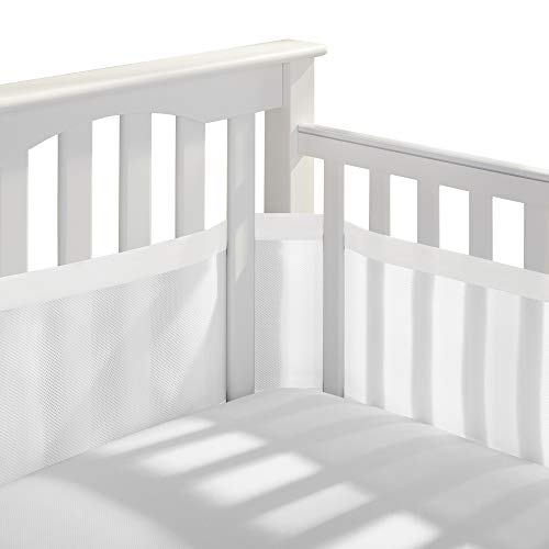 BreathableBaby Deluxe Patented Safer for Baby AntiBumper NonPadded Breathable Mesh Crib Liner – White amp Muslin Trim