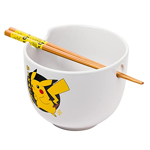 Silver Buffalo Pokemon Pikachu Japanese Text Boxed Ceramic Ramen Bowl with Chopsticks, white/multi, 20oz (PK1530KD)