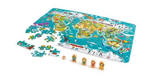 Hape- Puzzle la vuelta al mundo 2 en 1, Color carbón (E1626) , color/modelo surtido