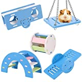 Smilcloud 5 Pcs Lovely Hamster Play Toys, Rainbow Bridge & Seesaw & Swing, Climb and Play Toy, Hamster Chew Toys DIY Hamster Cage Accessories for Small Pets(Blue)