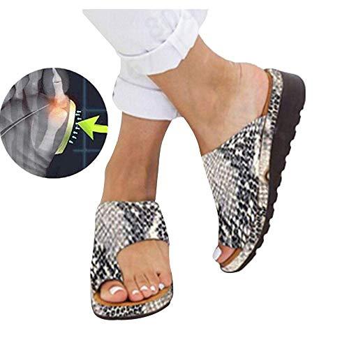 Sandales Plates Femmes Confortables Orthopedique Chaussures Plateforme - 2020 Newest Été Sandales Femmes Sandales Plates Toe T-Sangle Comfy Semi Trailer Sandales Chaussures de Plage (Style K, 38)
