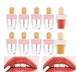 Healthcom 10 Packs 8ml Pink Ice Cream Empty Lip Gloss Tube Bottle Refillable Lip Balm Container Holder Lip Glaze Tube Pipe Vials with Wand DIY Lipstick Tube Makeup Samples Lipgloss Tube for Women Girl