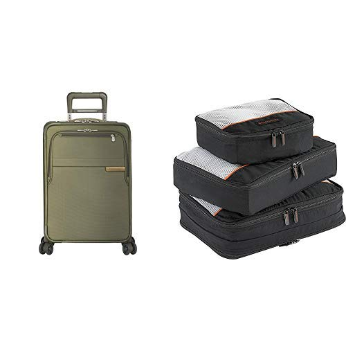 Briggs & Riley Baseline Olive 22' Domestic Expandable Carry-On Spinner and Packing Cubes
