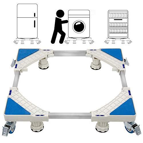 St.Oswalds Carrello porta Lavatrice con 4 ruote Mobile Regolabile Multifunzionale 4 Piedini Piedistallo Supporto per Elettrodomestici, Asciugatrice e Frigorifero (Carico 300 kg)
