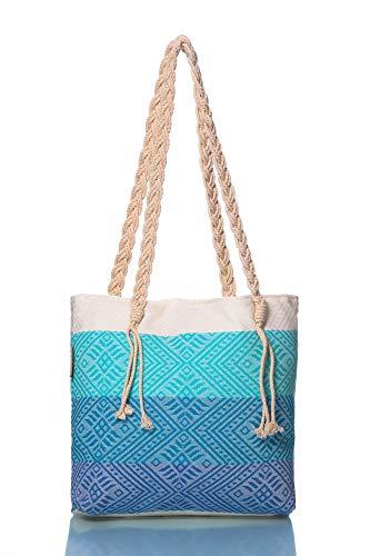 Begonville Strandtasche XXL - Große Badetasche Damen Reisetasche Schultertasche 40 cm x 50 cm, 70% Baumwolle & 30% Bambus