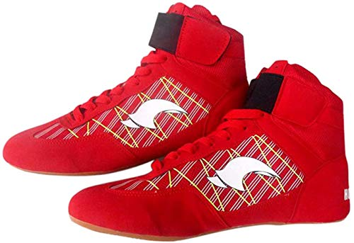 Day Key Wrestling Shoes for Men and Youth, Low Top Breathable Wrestling Shoes Red