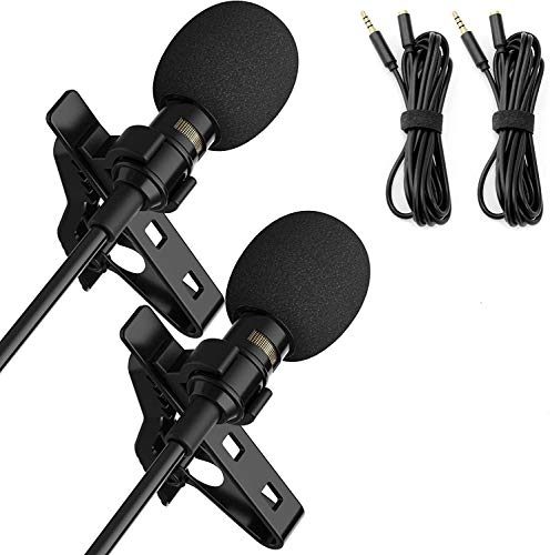 Lavalier Mikrofon, 1.5M Mini Omnidirectional Kondensator Lapel Mic mit 2 Transformation, Perfekt für Interview, Videokonferenz, Podcast, Diktat
