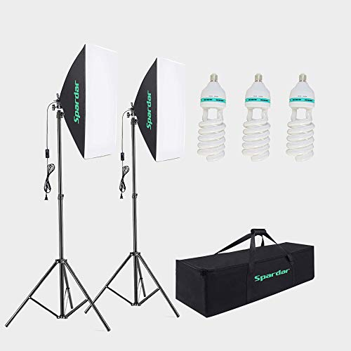 Spardar Softbox Lighting Kit Photography Studio Continuous Light Equipment with 3 X135W Bulbs E27 Socket 5500K for Portrait, Product, Make Up, Live Stream, Fashion Photography