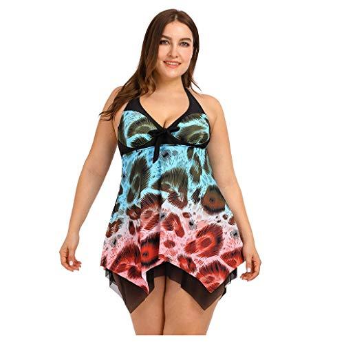 Große Größe Monokini Set Damen Zweiteiler Badeanzug mit Shorts Neckholder Badekleid Frauen Tankini Oversized Schwimmanzug Strandmode(Mehrfarbig,XXL)