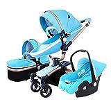 Cochecito 3 y 1 Cochecito plegable de alto paisaje, varilla de empuje reversible, el asiento se puede girar 360 °, el marco de la cesta del bebé se puede separar, adecuado para bebés de 0-4 años