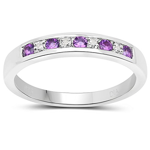 The Diamond Ring Collection: 3mm wide Sterling Silver Channel set Amethyst & Diamond Eternity Ring (Size P)
