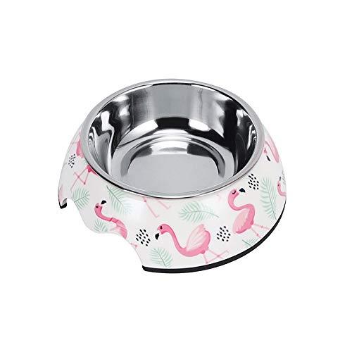 SDSQSCL Comedero Perro Gato,Antideslizante Doble Circular De Acero Inoxidable De La Línea Pet Food Bowl/Recipiente De Alimentación/Tazón De Agua,Cute Pink Flamingo De Forma Más Fácil De Llegar A Los
