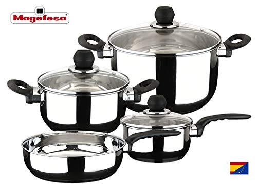 MAGEFESA PRACTIKA – Batería de Cocina 7 Piezas está Fabricada en Acero Inoxidable, Fondo difusor garantiza la distribución de calor. Fácil Limpieza y Apta lavavajillas