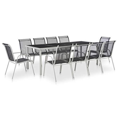 vidaXL Conjunto Comedor Exterior 11 Piezas Acero y Textileno Negro Mobiliario